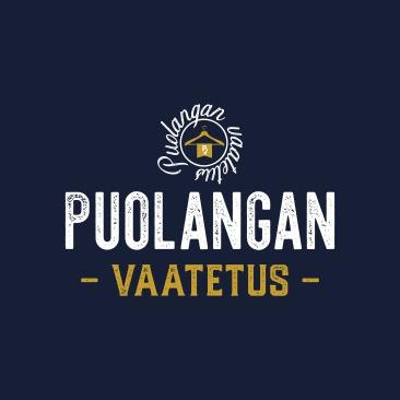Puolangan vaatetus - logo, valk. Taustalla
